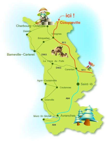 Location Cotentin mer-gîte de bord de mer-plan d'accès
